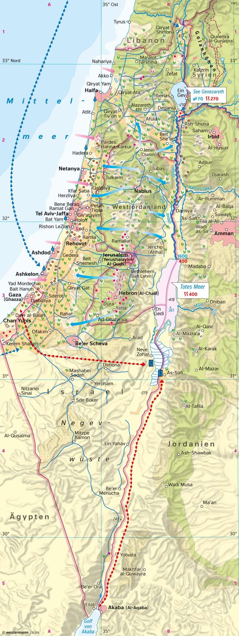 Israel/Palästina   Lebensgrundlage Wasser   Siedlung und Landnutzung   Karte 176/2