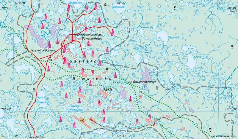 Jamal-Halbinsel | Gasfeld im Dauerfrostgebiet | Russland | Karte 149/4