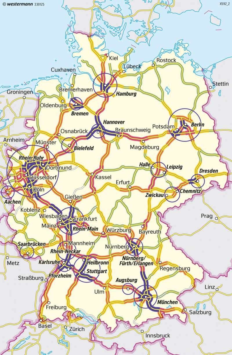 verdichtungsräume in deutschland karte Diercke Weltatlas   Kartenansicht   Deutschland   Straßenverkehr