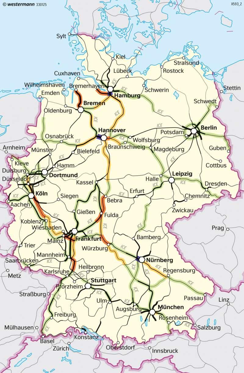 Deutschland   Schienenverkehr   Deutschland - Verkehr   Karte 91/3