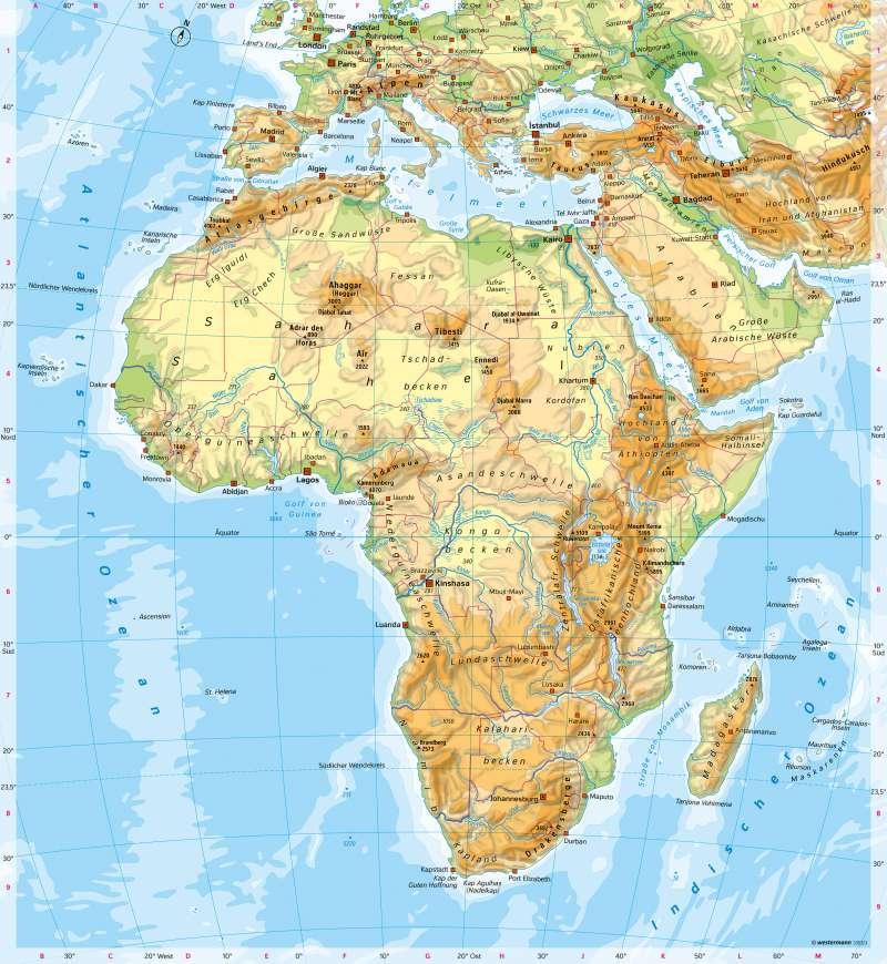 Afrika Karte Deutsch.Diercke Weltatlas Kartenansicht Afrika Physische übersicht