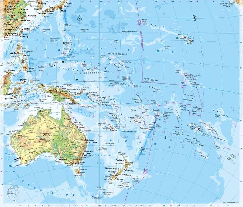 Australien/Ozeanien | Physische Übersicht | Australien/Ozeanien - Orientierung | Karte 198/1