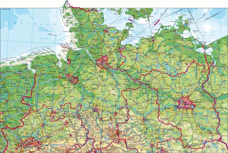 Mecklenburgische Seenplatte Kartenansicht.Diercke Weltatlas Kartenansicht Deutschland Nördlicher Teil