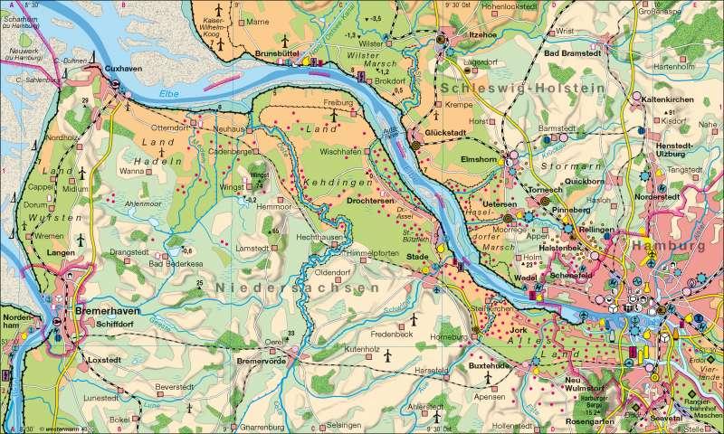 Unterelbe | Wirtschaft | Hamburg | Karte 30/1