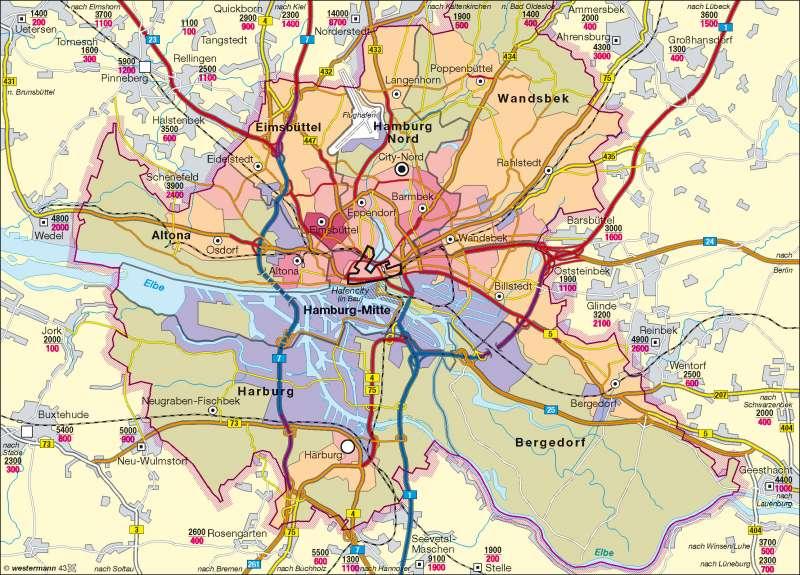Hamburg | Bevölkerungsverteilung/Verkehrsbelastung/Entwicklungszentren | Hamburg | Karte 30/2