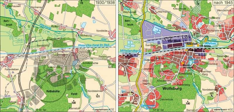 Wolfsburg 1930/1938 und nach 1945 |  | Industrieraum Braunschweig-Wolfsburg | Karte 33/1