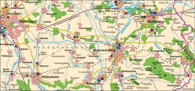 Östliches Niedersachsen | Zulieferer der Automobilindustrie | Industrieraum Braunschweig-Wolfsburg | Karte 33/2