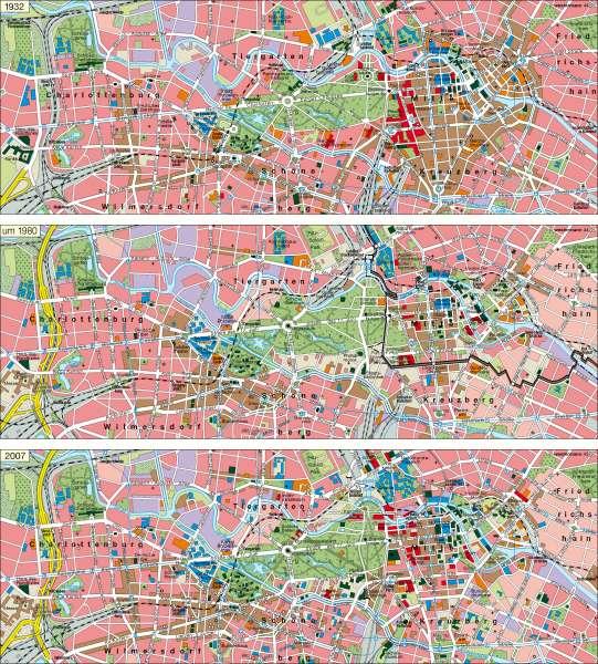 Berlin | Innenstadt 1932 / um 1980 / 2007 | Berlin | Karte 35/4
