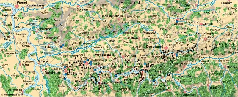 Ruhrgebiet um 1840 |  | Rheinisch-Westfälisches Industriegebiet | Karte 36/1