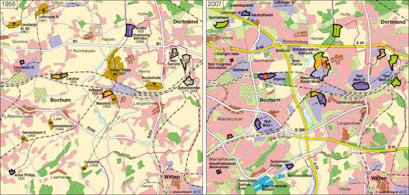 Bochum Karte.Diercke Weltatlas Kartenansicht Bochum Strukturwandel 1956