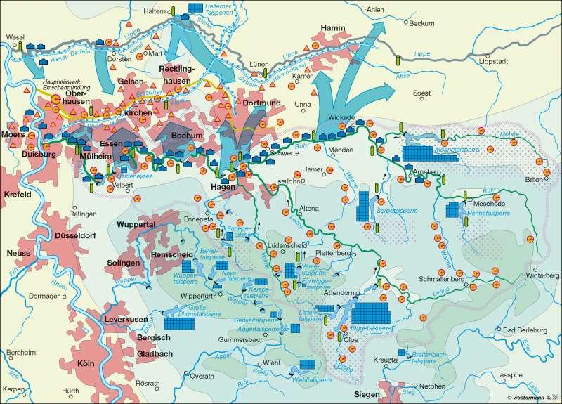 Karte Ruhrgebiet.Diercke Weltatlas Kartenansicht Ruhrgebiet Wasserwirtschaft