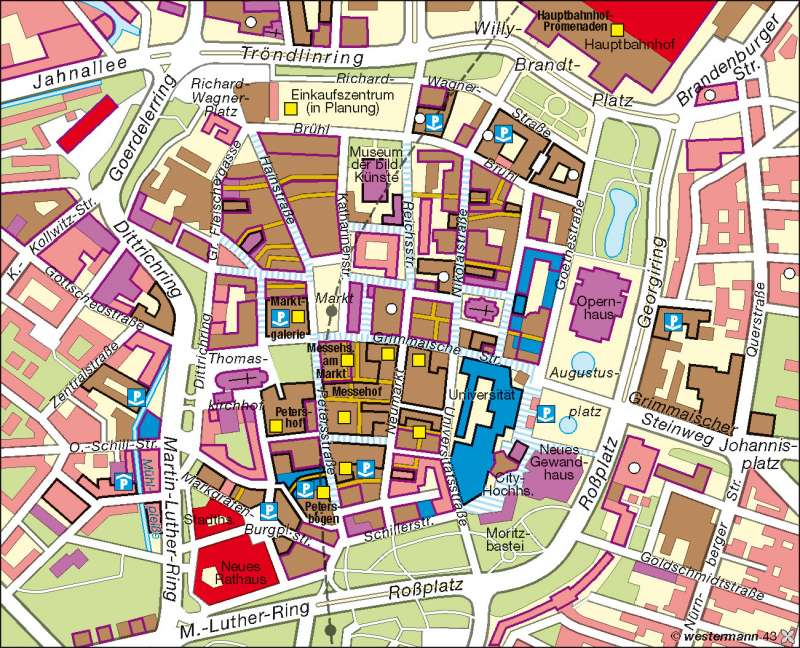 Leipzig | Innenstadtentwicklung seit 1990 | Industrieraum Halle-Leipzig | Karte 39/5