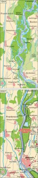 Oberrheinregulierung bei Breisach 1844 / 2007 |  | Region Oberrhein | Karte 43/3
