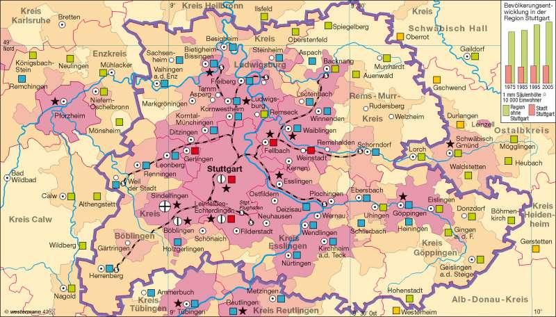 Region Stuttgart | Bevölkerung und Beschäftigte | Industrieraum - Region Stuttgart | Karte 45/5