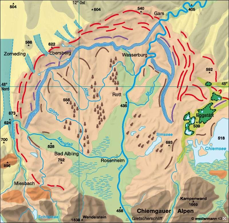 Inntal | alpine Vorlandvergletscherung | Deutschland - Geologie/Eiszeitformen | Karte 49/3