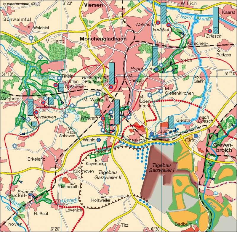 Nordrevier | Grundwasserabsenkung/Maßnahmen | Rheinisches Braunkohlenrevier | Karte 51/1