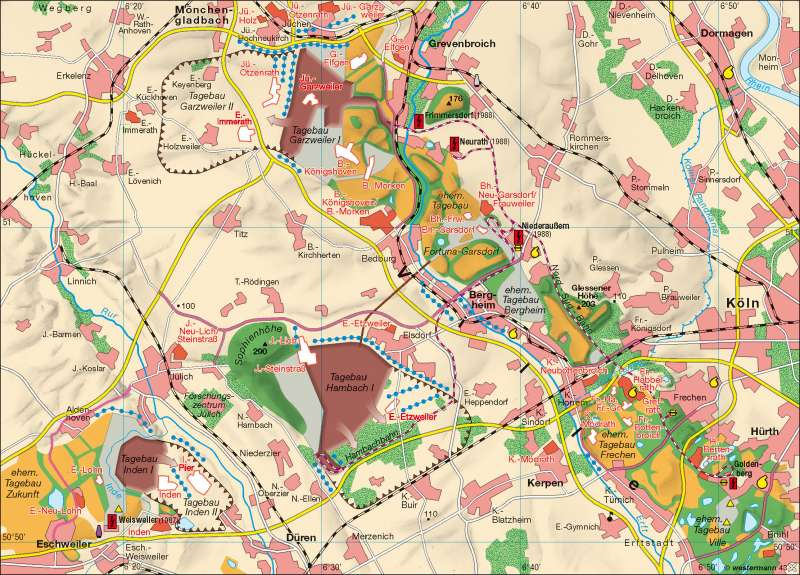 Landschaftswandel |  | Rheinisches Braunkohlenrevier | Karte 51/3