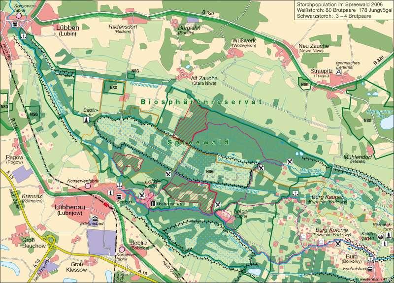 Spreewald | UNESCO-Biosphärenreservat | Deutschland - Tourismus | Karte 61/4