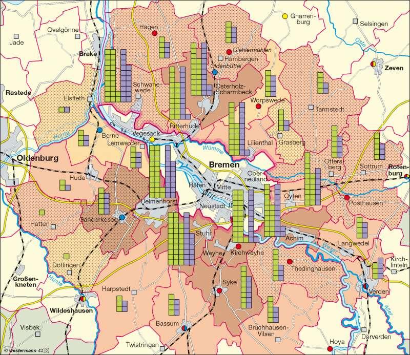 bremen umland karte Diercke Weltatlas   Kartenansicht   Bremen   Stadt Umland