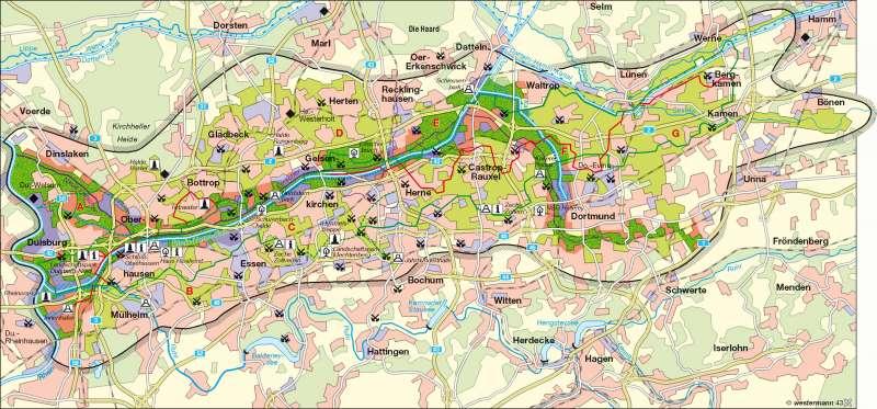 Emscher Landschaftspark | Landschaft des Strukturwandels | Deutschland - Raumordnung | Karte 67/4