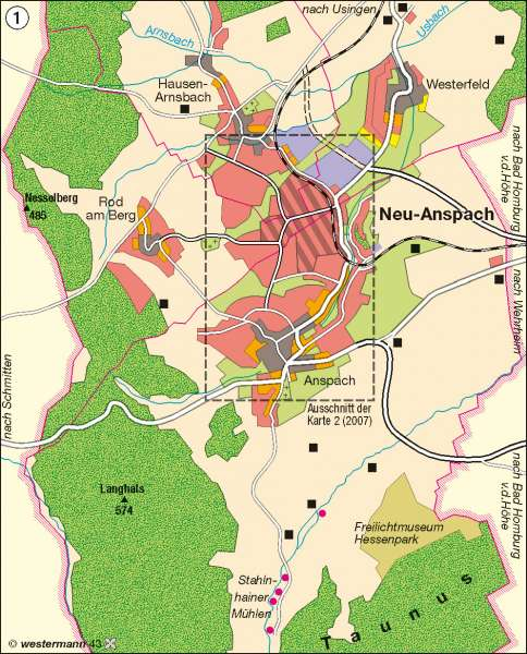 Neu-Anspach | Siedlungsschwerpunkt im Planungsverband Frankfurt/Rhein-Main | Deutschland - Wandel ländlicher und städtischer Siedlungen | Karte 68/1