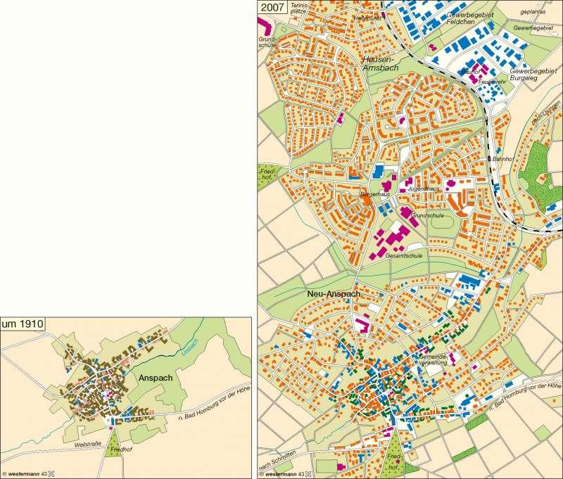 Anspach (Taunus)   Wandel der Dorfstruktur 1910 / 2007   Deutschland - Wandel ländlicher und städtischer Siedlungen   Karte 68/2
