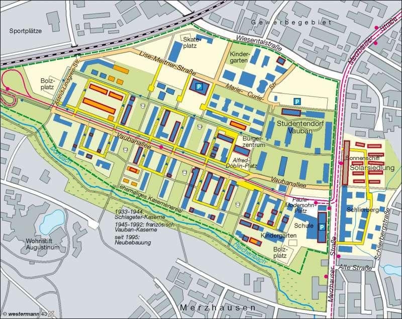 Freiburg Karte Stadtteile.Diercke Weltatlas Kartenansicht Quartier Vauban Freiburg