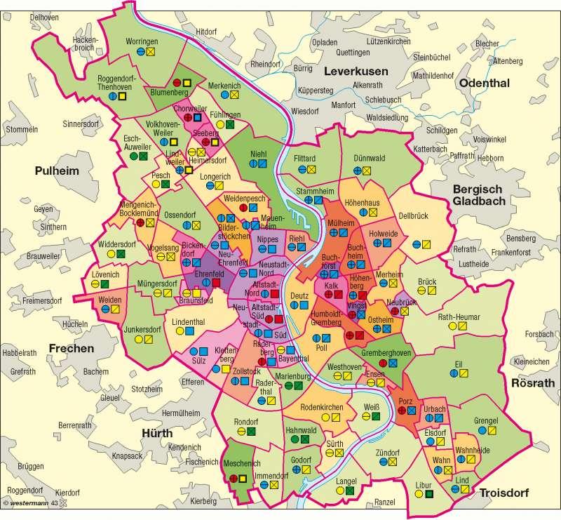 karte deutschland köln Diercke Weltatlas   Kartenansicht   Köln   sozialräumliche