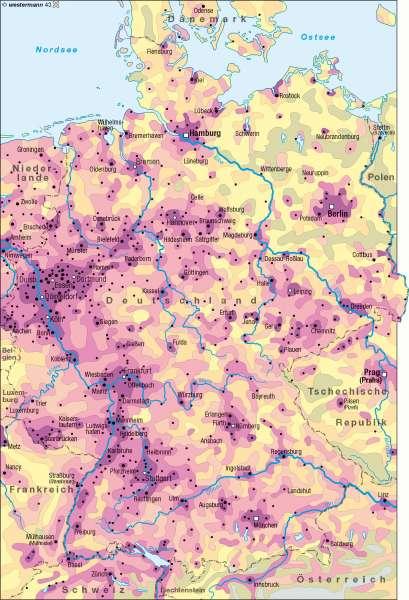 Bevölkerungsdichte 2007      Deutschland - Bevölkerungsdichte   Karte 74/1