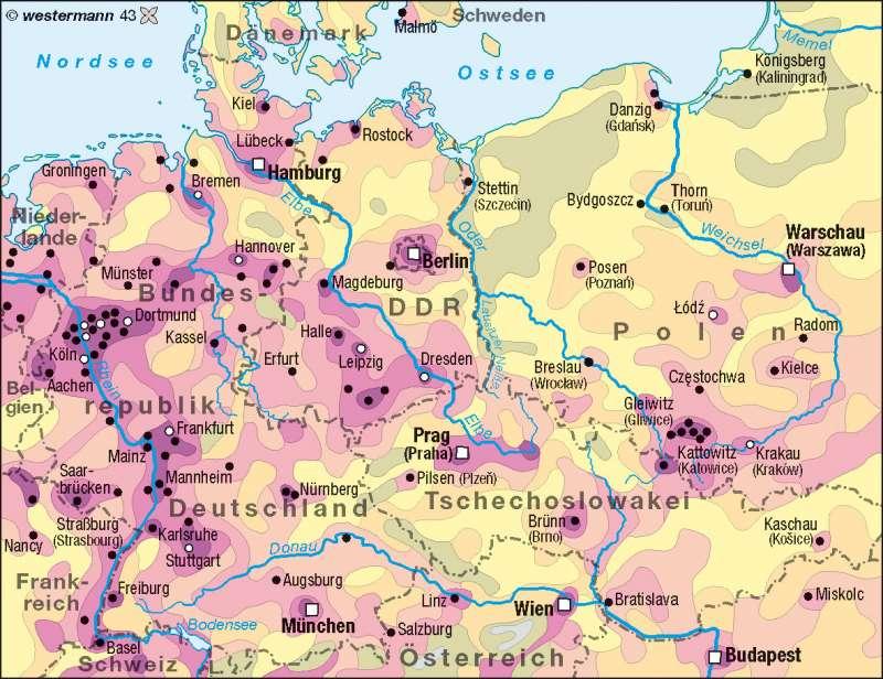 Bevölkerungsdichte 1970 |  | Deutschland - Bevölkerungsdichte | Karte 74/4