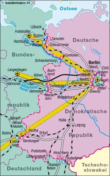 Berlins Verbindungen zur BRD bis 1990 |  | Deutschland - politisch | Karte 75/5