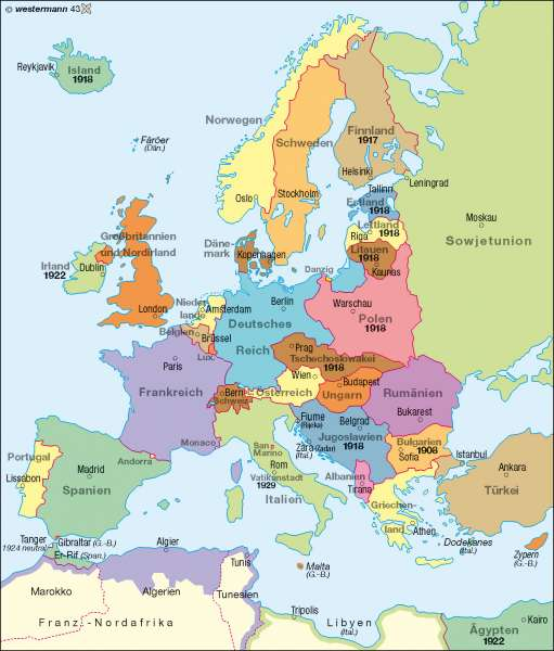 Diercke Weltatlas Kartenansicht Europa 1937 978 3 14