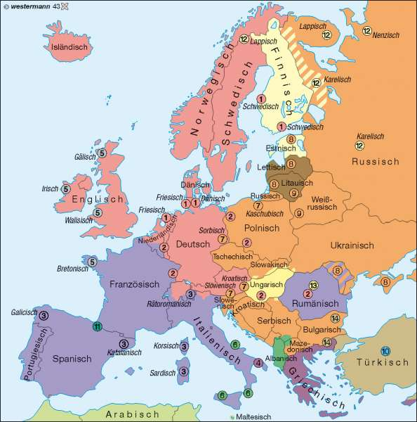 Europa | Staatssprachen und Sprachminderheiten | Europa - Staaten | Karte 76/3