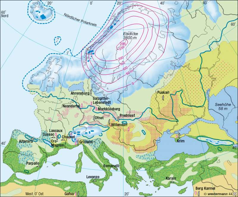 Würm-/Weichseleiszeit (letzte Eiszeit) | Vergletscherung | Europa – Landwirtschaft | Karte 93/2