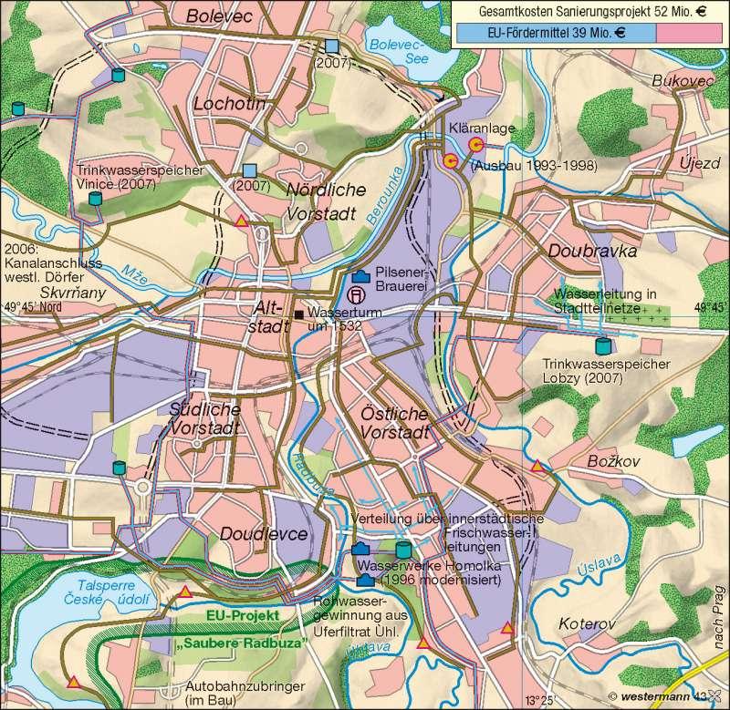 Pilsen (Plzeň) | EU-geförderte Umweltmaßnahmen | Europäische Union | Karte 87/7