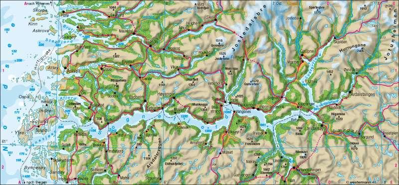 Fjordküste      Skandinavien - physisch   Karte 91/3
