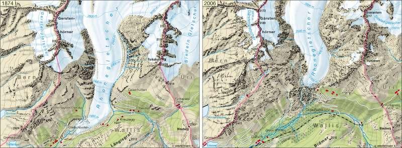 Rhonegletscher (Schweiz) | Gletscherrückzug 1874/2006 | Alpen - Tourismus und Umwelt | Karte 102/2