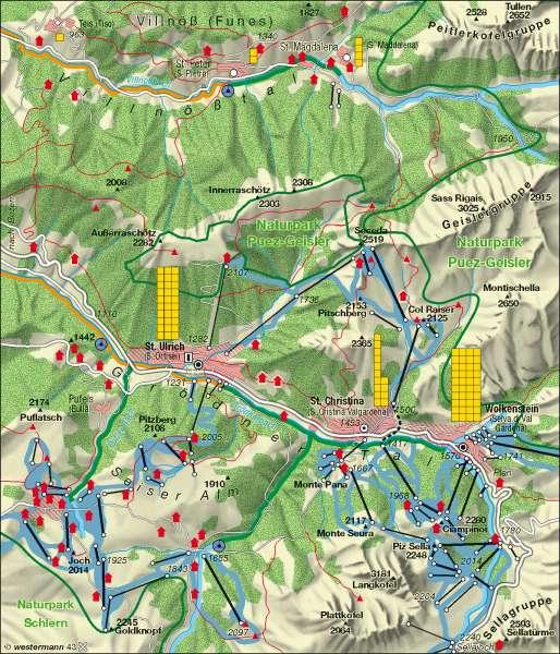 St. Ulrich (Italien)   Tourismus und Umweltbelastung   Alpen - Tourismus und Umwelt   Karte 103/4