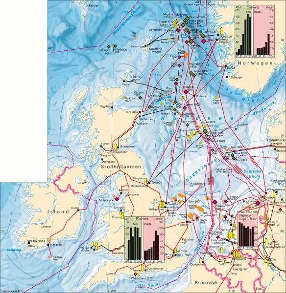 Nordsee | Erdöl und Erdgas | Nordsee - Erdöl und Erdgas | Karte 106/1