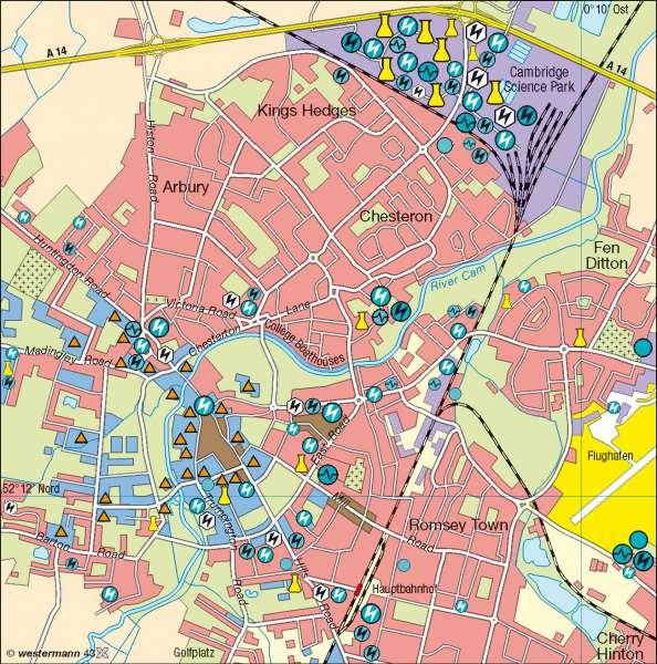Cambridge | Hightech-Unternehmen | Britische Inseln - physisch | Karte 111/3