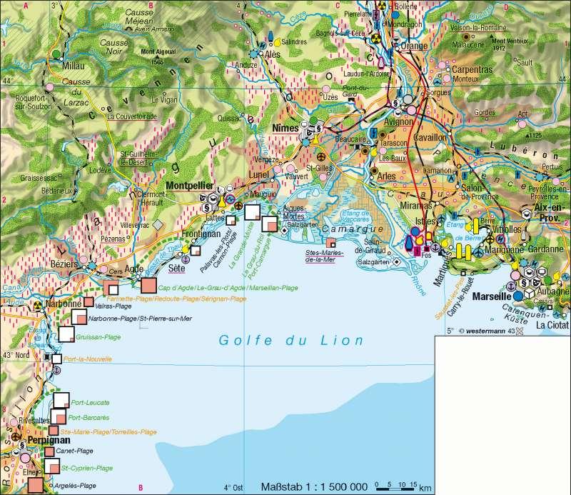 Südfrankreich | wirtschaftliche Entwicklung im Sunbelt | Frankreich | Karte 115/3