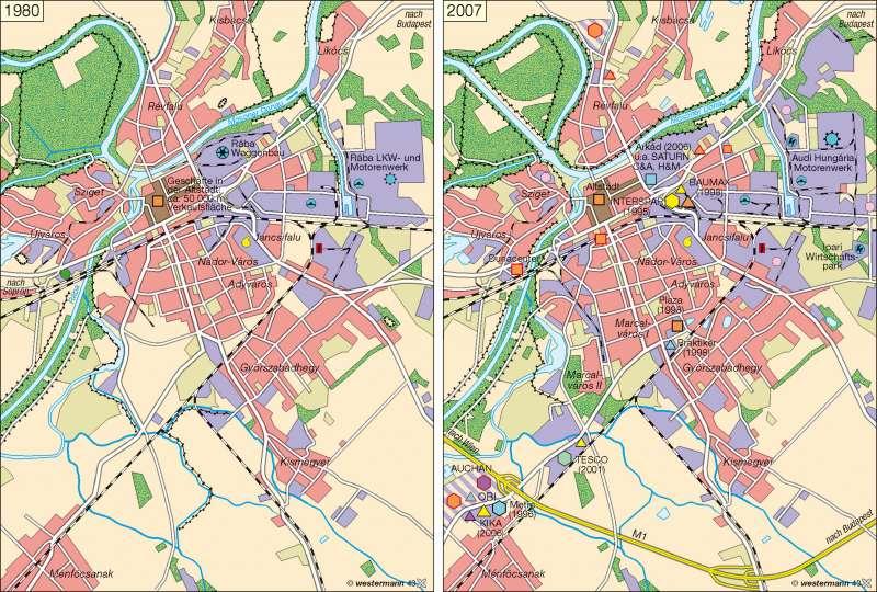 Raab (Győr) | Handel und Gewerbe 1980/2007 | Räume im Wandel – Balkanhalbinsel | Karte 67/4