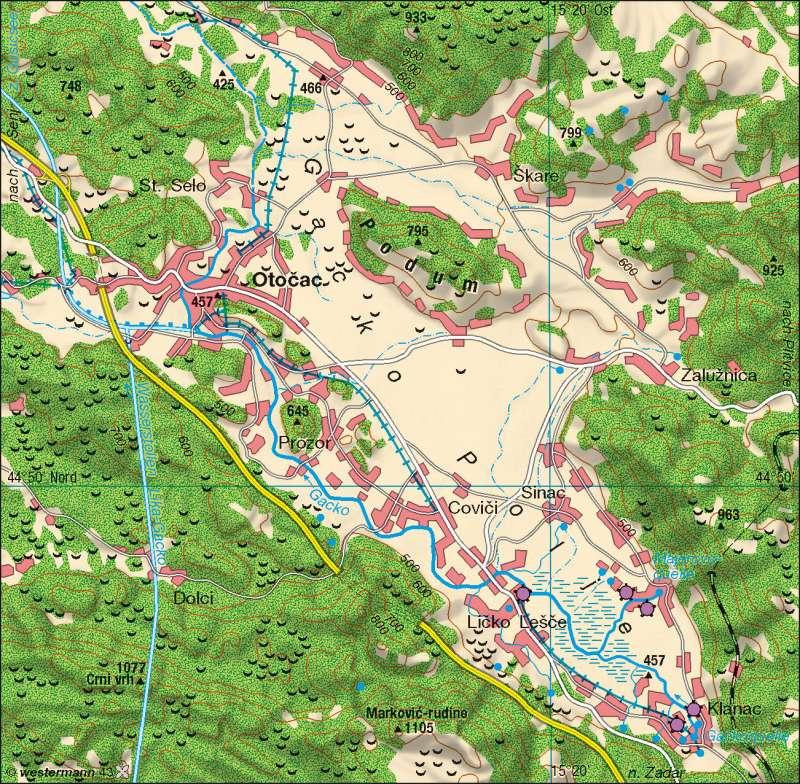 Gacko Polje (Kroatien) | Karstformen und -quellen | Südosteuropa - Wasser | Karte 126/1