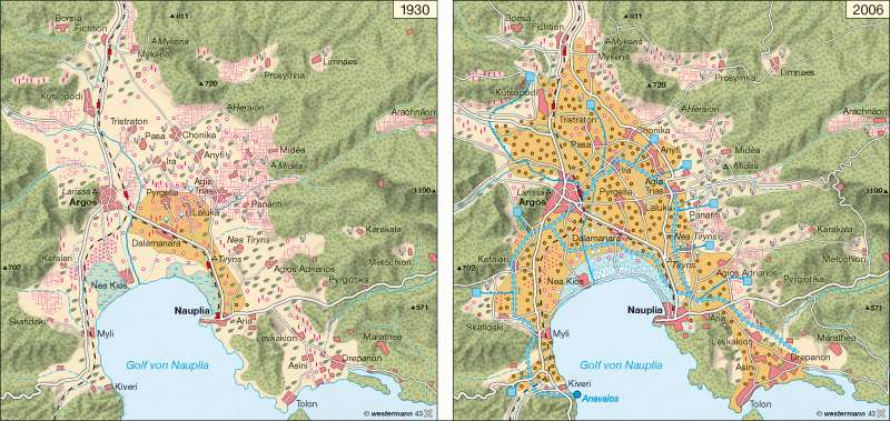 Argolis (Griechenland)   Landschaftswandel   Balkanhalbinsel – Wasser   Karte 66/3