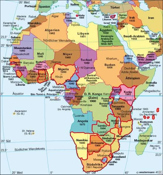 Afrika | politische Übersicht | Afrika – politische Entwicklung | Karte 132/4