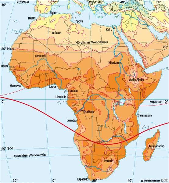 Temperaturen im Jänner |  | Afrika – Klima | Karte 134/1