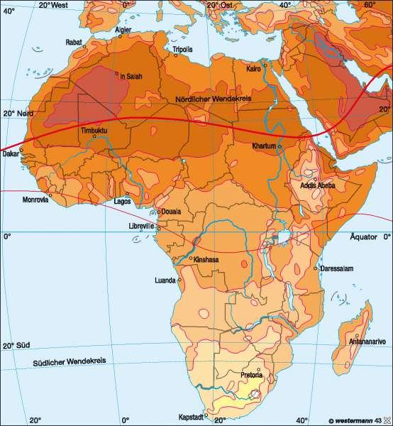 Temperaturen im Juli |  | Afrika – Klima | Karte 134/2