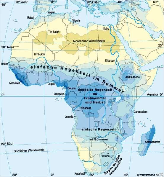Niederschläge im Jahr |  | Afrika - Klima | Karte 132/3