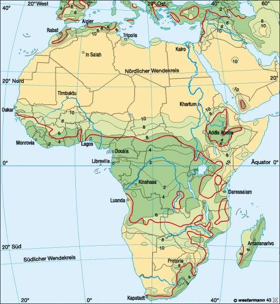 Zahl der ariden Monate/Dürrewahrscheinlichkeit      Afrika - Klima   Karte 132/4