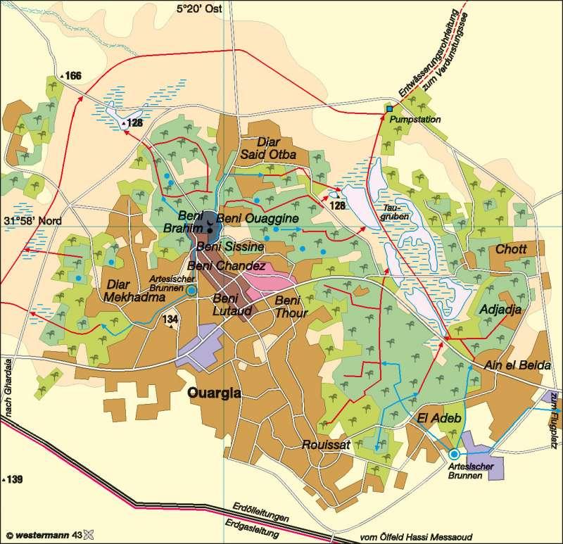 Ouargla (Algerien) | Brunnenoase | Afrika - Landwirtschaft/Desertifikation | Karte 134/1